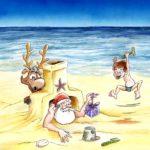 """Participation au calendrier de l'avent Chacalprod 2010. Thème : """"Noël à la plage"""". Encres et aquarelles."""