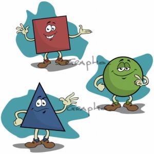 Un carré, un cercle et un triangle.