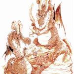 Entretien avec un vieux dragon. Acrylique.