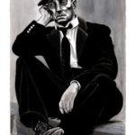 Buster Keaton, acrylique sur bois.